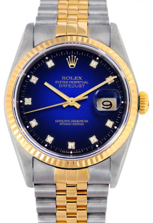 Rolex 16233 Yellow Gold & Steel on Jubilee, Fluted Bezel Vignette Blue Diamond Dial