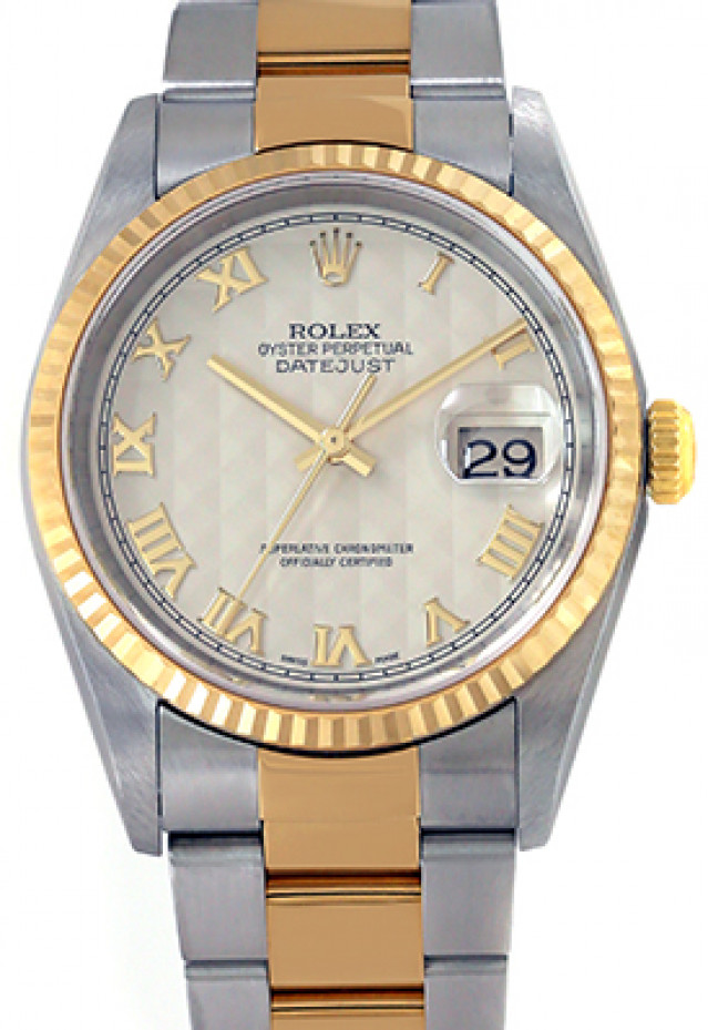 Rolex 16233 Yellow Gold & Steel on Oyster, Fluted Bezel Ivory Pyramid with Gold Roman