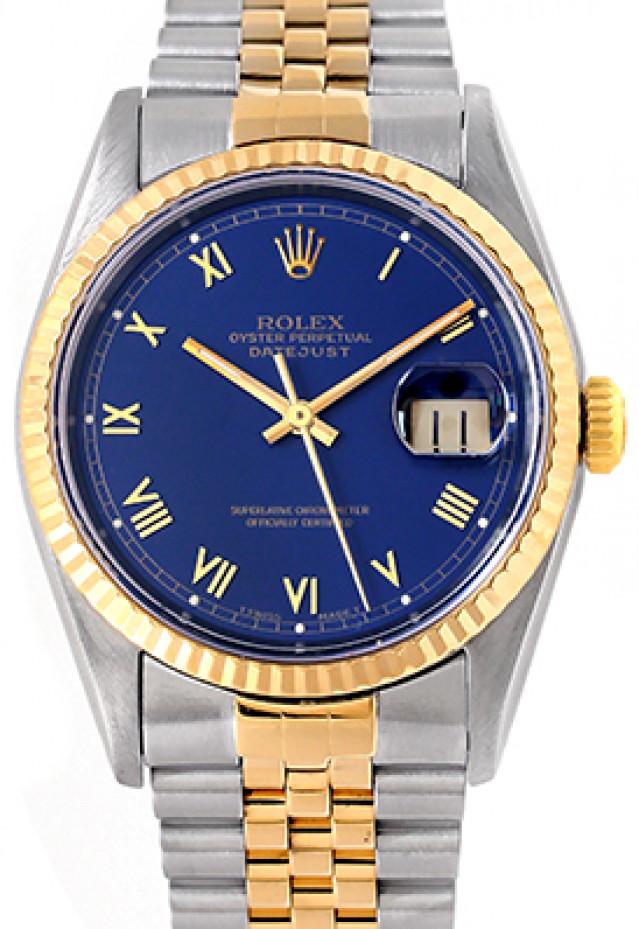 Rolex 16233 Yellow Gold & Steel on Jubilee, Fluted Bezel Blue with Gold Roman