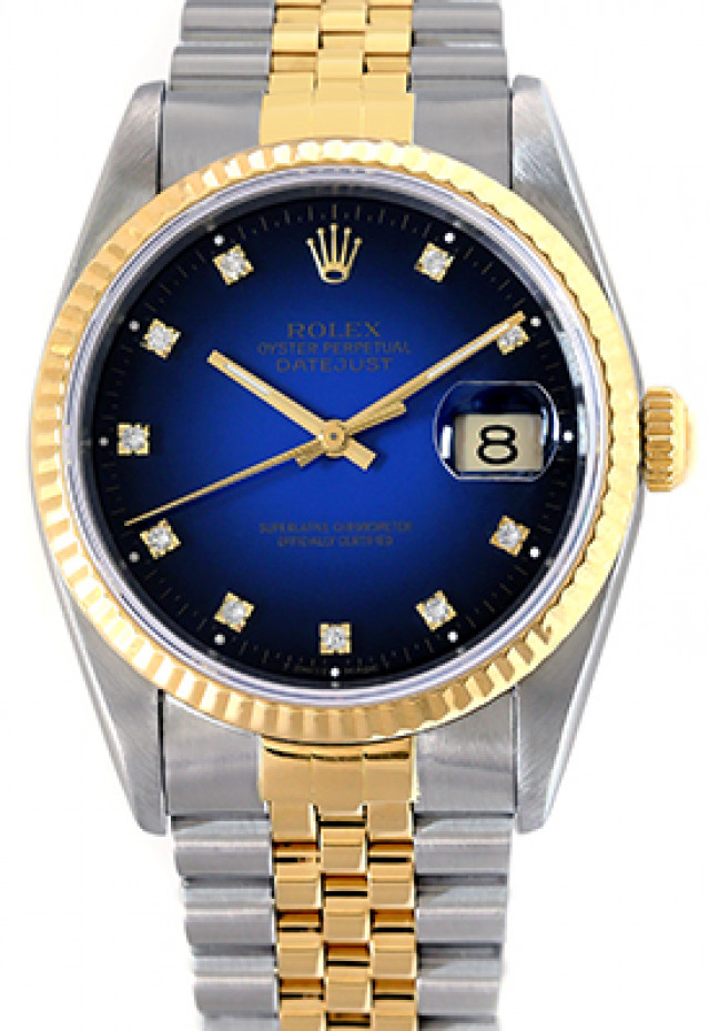 Rolex 16233 Yellow Gold & Steel on Jubilee, Fluted Bezel Blue Vignette with Gold Roman