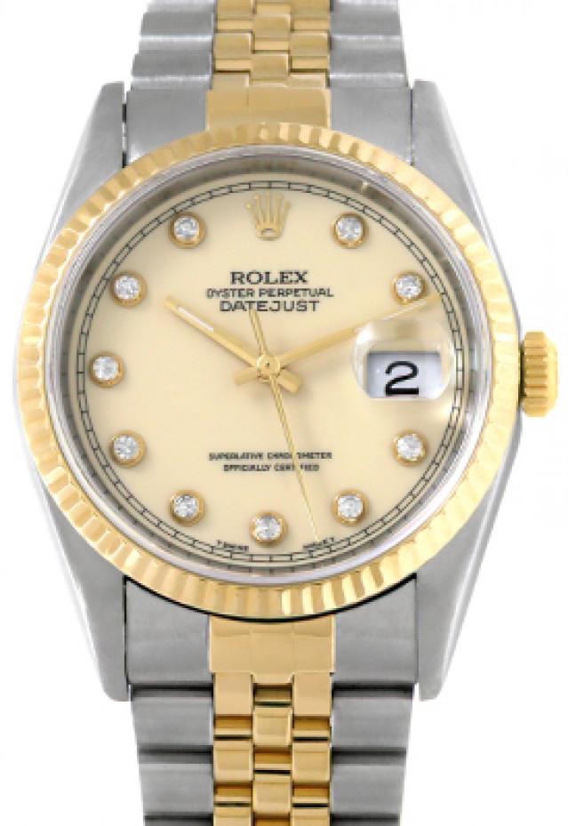 Rolex 16233 Yellow Gold & Steel on Jubilee, Fluted Bezel Ivory Diamond Dial