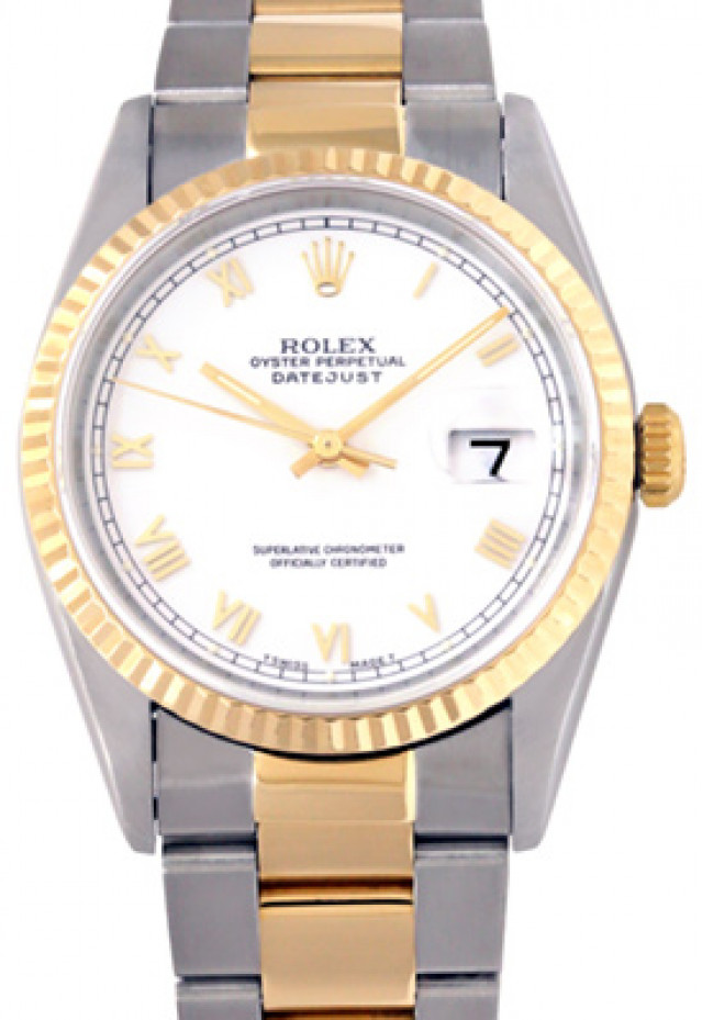 Rolex 16233 Yellow Gold & Steel on Oyster, Fluted Bezel White with Gold Roman