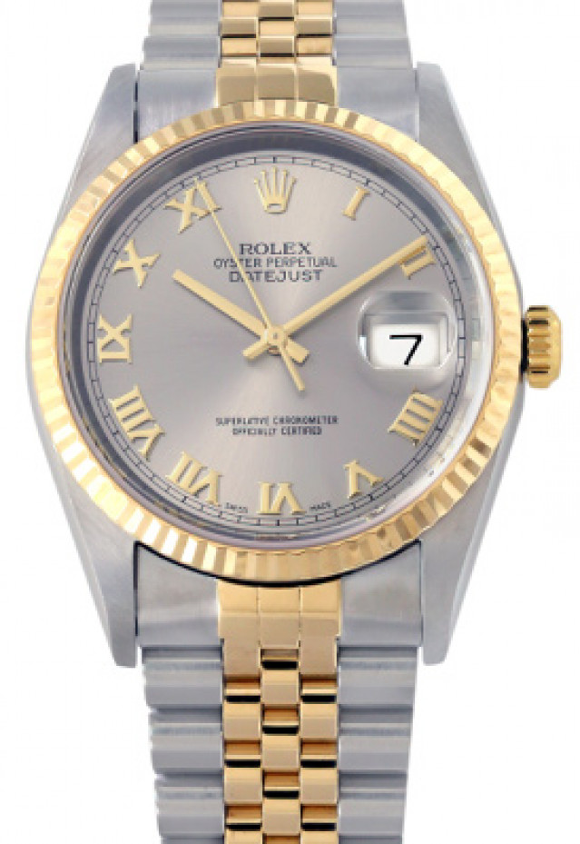 Rolex 16233 Yellow Gold & Steel on Jubilee, Fluted Bezel Steel with Gold Roman