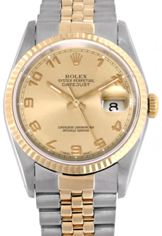 Rolex 16233 Yellow Gold & Steel on Jubilee, Fluted Bezel Champagne with Gold Arabic