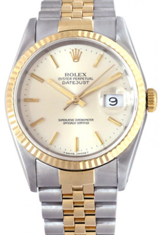 Rolex 16233 Yellow Gold & Steel on Jubilee, Fluted Bezel Steel with Gold Index