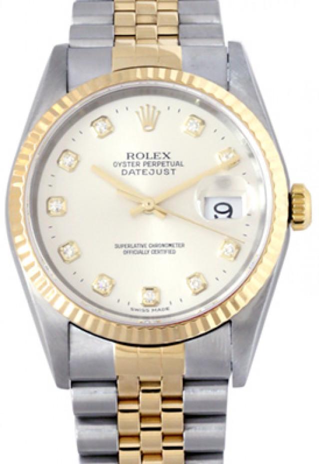 Rolex 16233 Yellow Gold & Steel on Jubilee, Fluted Bezel Steel Diamond Dial