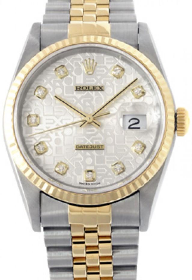 Rolex 16233 Yellow Gold & Steel on Jubilee, Fluted Bezel Jubilee Steel Diamond Dial