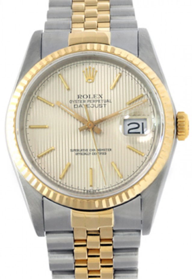 Rolex 16233 Yellow Gold & Steel on Jubilee, Fluted Bezel Steel Tapestry with Gold Index