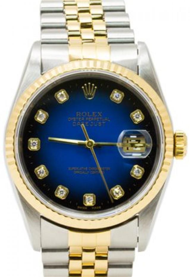 Rolex 16233 Yellow Gold & Steel on Jubilee, Fluted Bezel Blue Diamond Dial