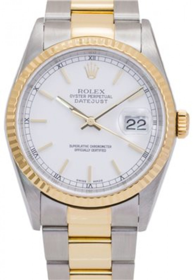 Rolex 16233 Yellow Gold & Steel on Oyster, Fluted Bezel White with Gold Index