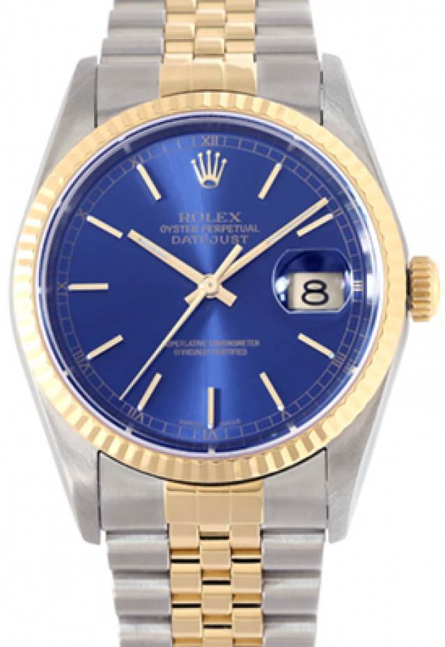 Rolex 16233 Yellow Gold & Steel on Jubilee, Fluted Bezel Blue with Gold Index
