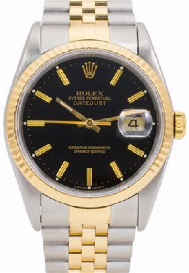 Rolex 16233 Yellow Gold & Steel on Jubilee, Fluted Bezel Black with Gold Index