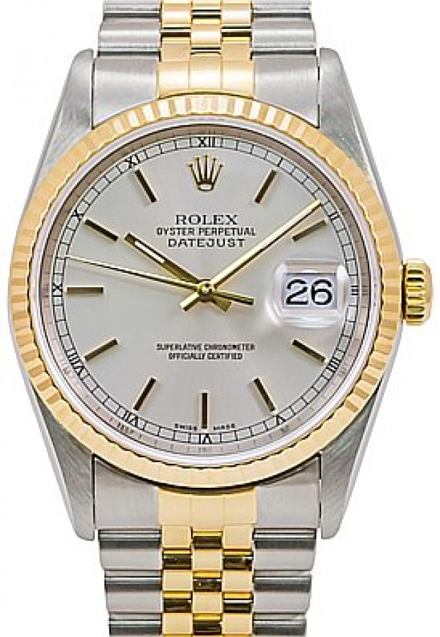 Rolex 16233 Yellow Gold & Steel on Jubilee, Fluted Bezel Silver with Gold Index