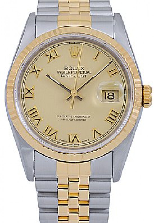 Rolex 16233 Yellow Gold & Steel on Jubilee, Fluted Bezel Champagne with Gold Roman