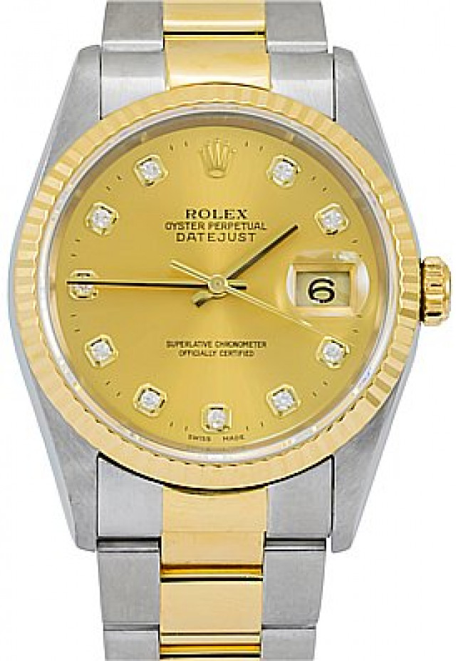 Rolex 16233 Yellow Gold & Steel on Oyster, Fluted Bezel Champagne Diamond Dial