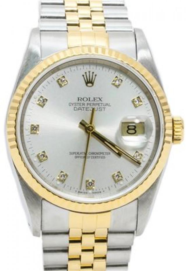 Rolex 16233 Yellow Gold & Steel on Jubilee, Fluted Bezel Silver Diamond Dial