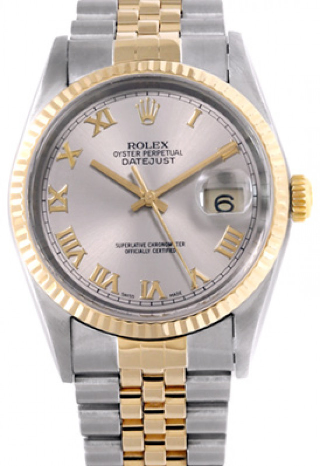 Rolex 16233 Yellow Gold & Steel on Jubilee, Fluted Bezel Rhodium with Gold Roman