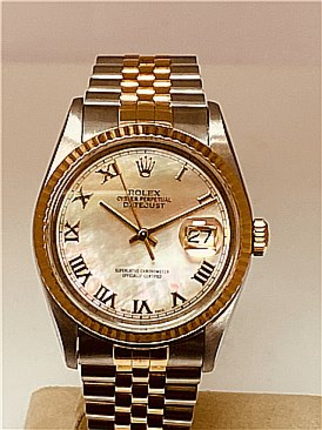 Rolex 16233 Yellow Gold & Steel on Jubilee, Fluted Bezel White Mother Of Pearl with Gold Roman