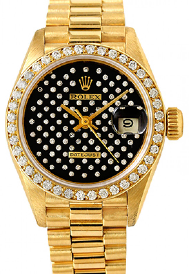 Rolex 69138 Yellow Gold on President, Diamond Bezel Pleiade Black Diamond Dial
