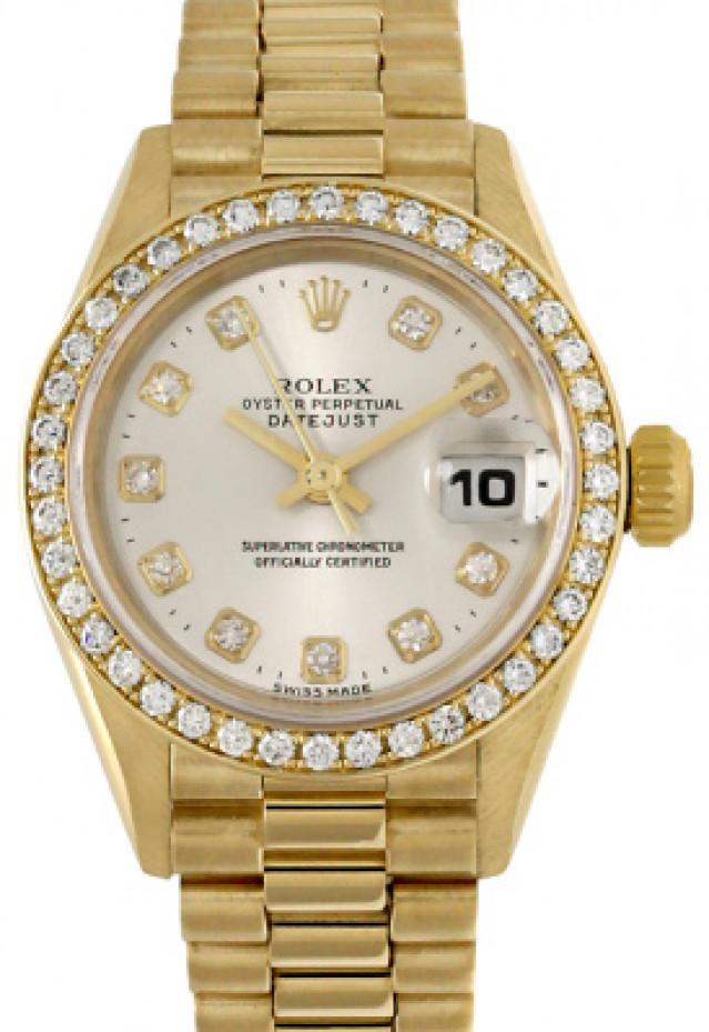 Rolex 69138 Yellow Gold on President, Diamond Bezel Steel Diamond Dial