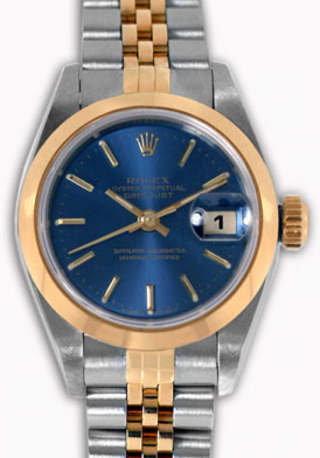 Rolex 69163 Yellow Gold & Steel on Jubilee, Smooth Bezel Blue with Gold Index