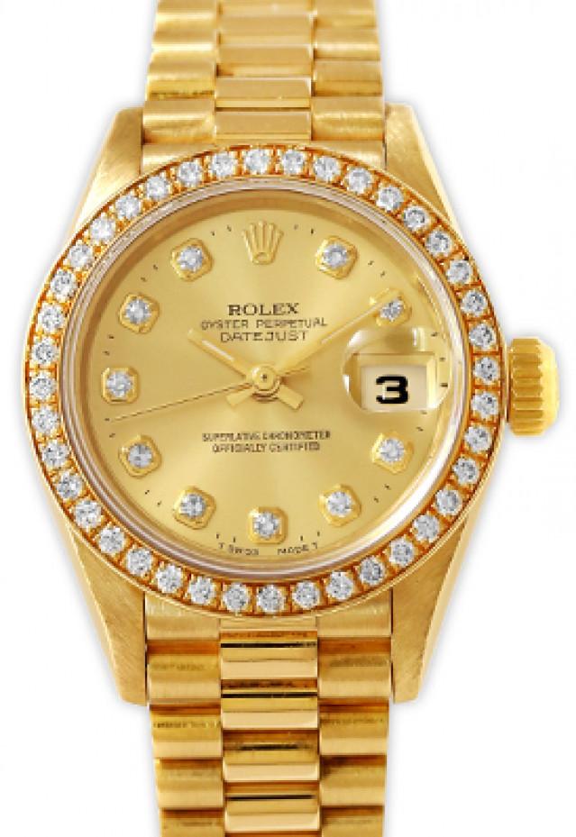 Rolex 69138 Yellow Gold on President, Diamond Bezel Champagne Diamond Dial