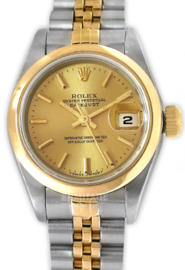Rolex 69163 Yellow Gold & Steel on Jubilee, Smooth Bezel Champagne with Gold Index