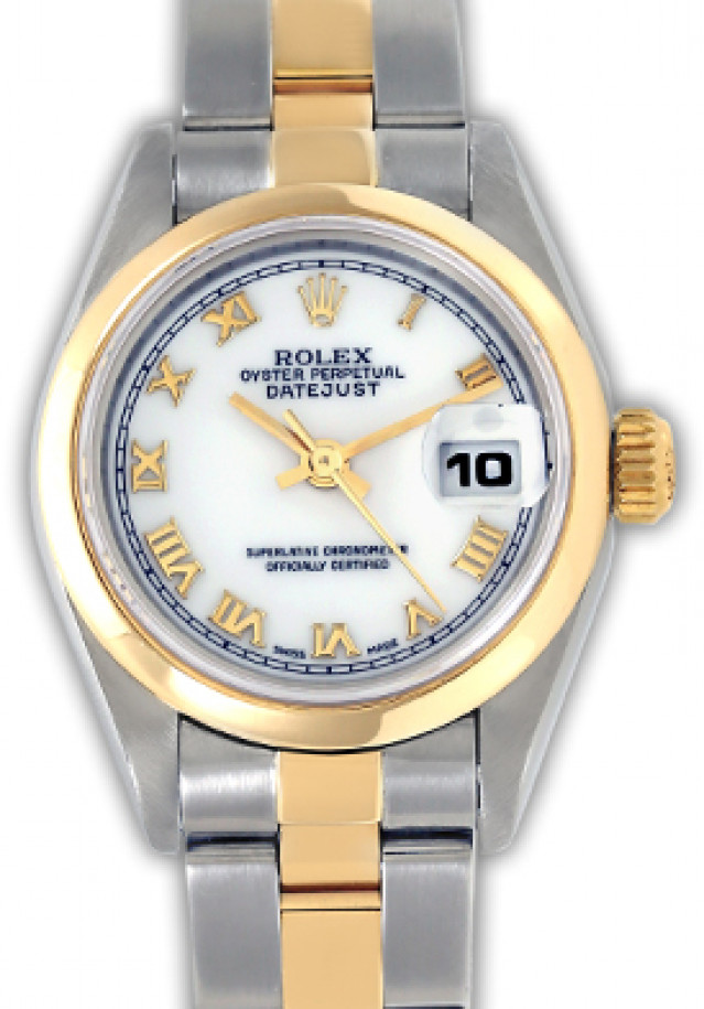 Rolex 69163 Yellow Gold & Steel on Oyster, Smooth Bezel White with Luminous Index & Silver Arabic 2-4-6-8-10