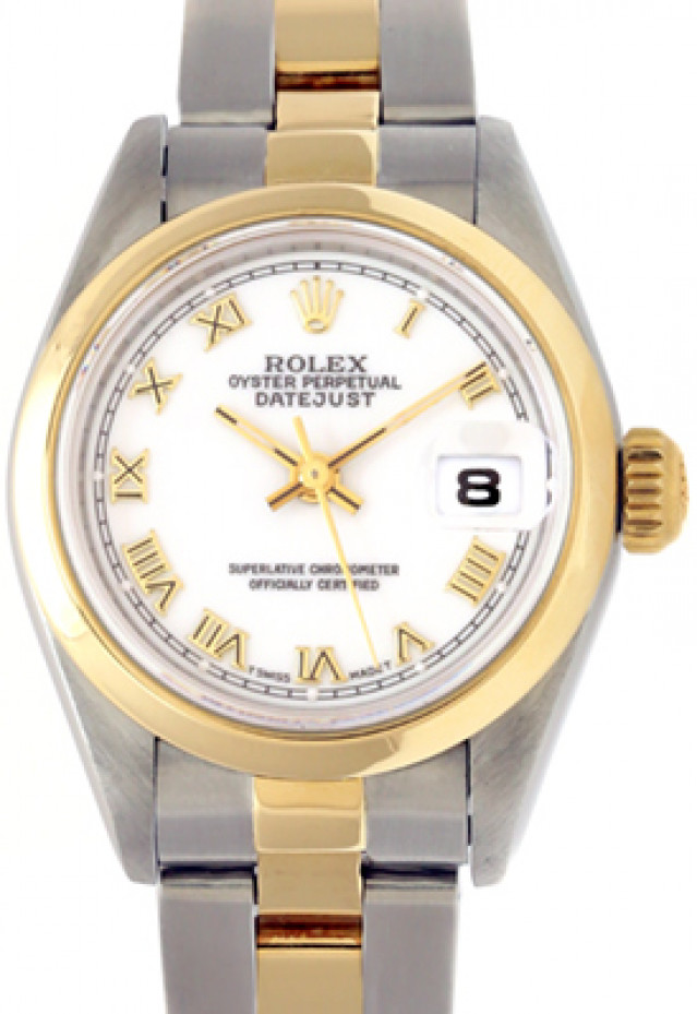 Rolex 69163 Yellow Gold & Steel on Oyster, Smooth Bezel White with Gold Roman