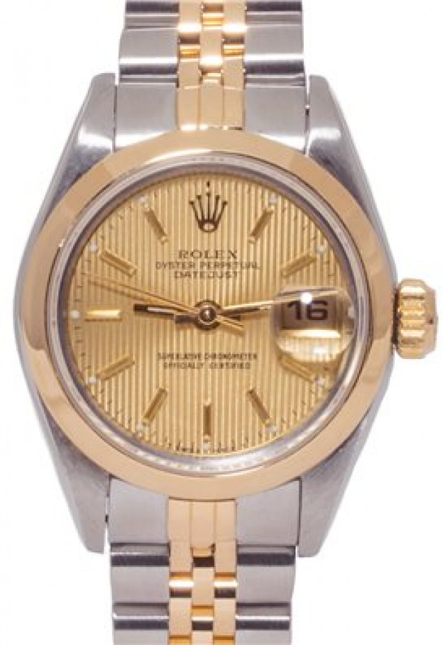 Rolex 69163 Yellow Gold & Steel on Jubilee, Smooth Bezel Champagne Tapestry with Gold Index