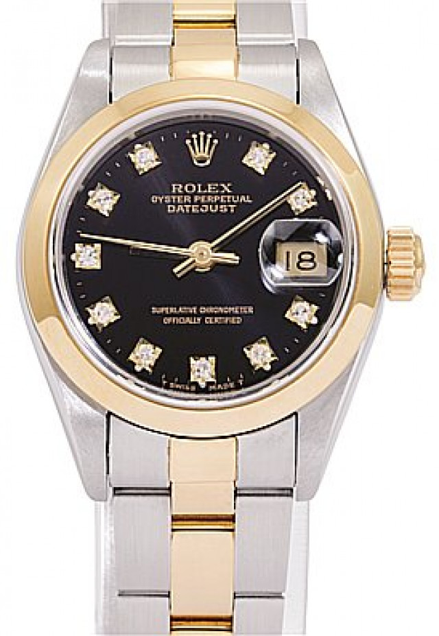 Rolex 69163 Yellow Gold & Steel on Oyster, Smooth Bezel Black Diamond Dial