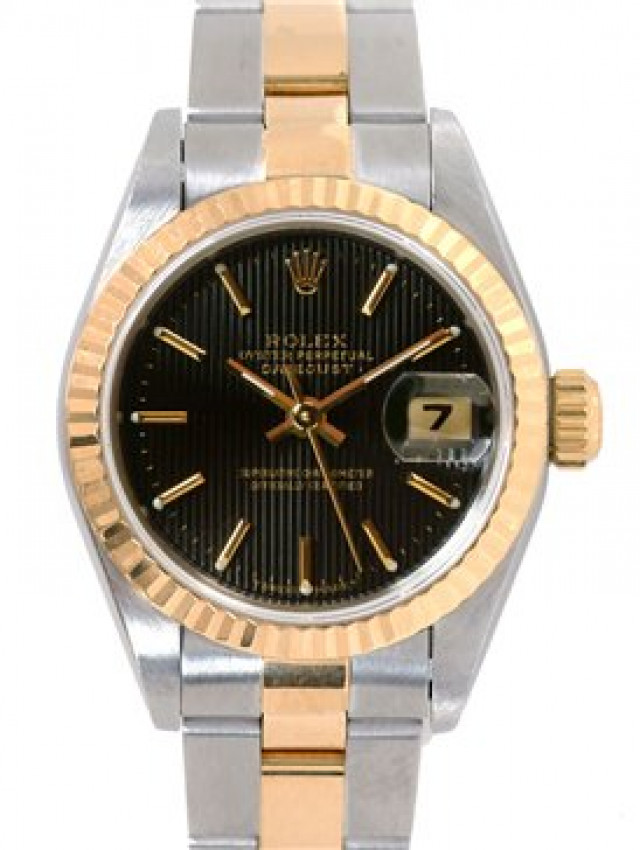Rolex 69173 Yellow Gold & Steel on Oyster, Fluted Bezel Black Tapestry with Gold Index