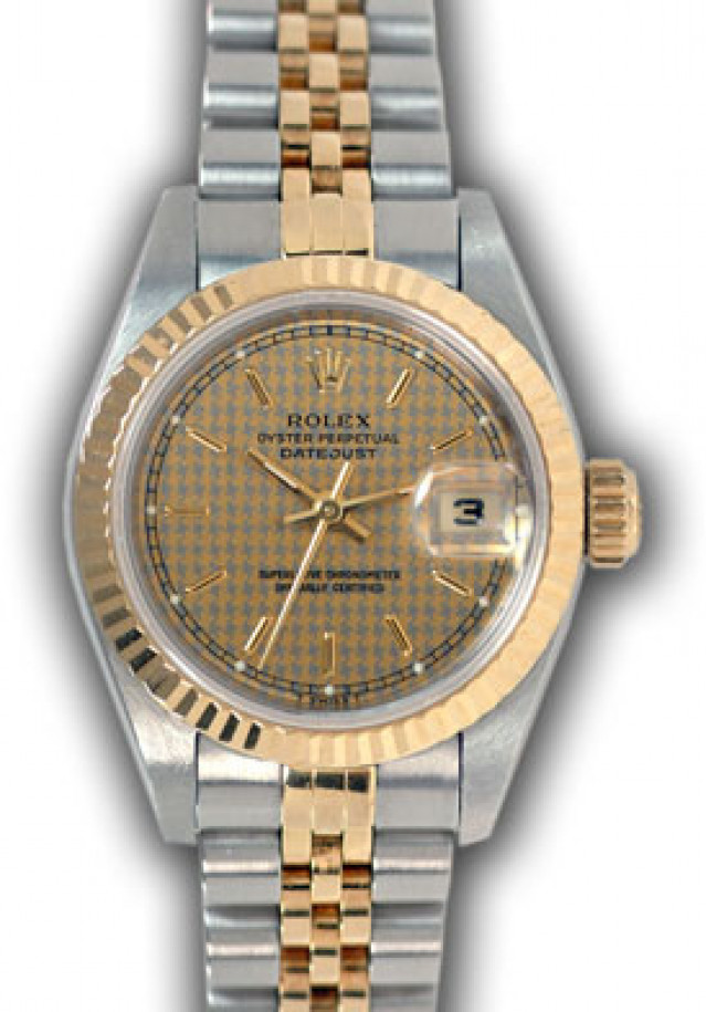 Rolex 69173 Yellow Gold & Steel on Jubilee, Fluted Bezel Champagne Houndstooth with Gold Index