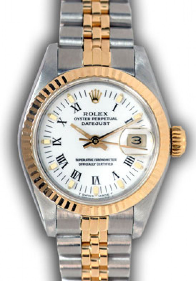Rolex 69173 Yellow Gold & Steel on Jubilee, Fluted Bezel White with White Roman