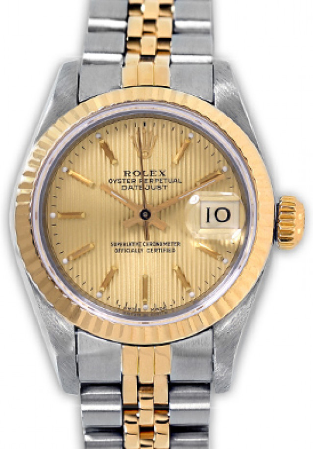 Rolex 69173 Yellow Gold & Steel on Jubilee, Fluted Bezel Champagne Tapestry with Gold Index