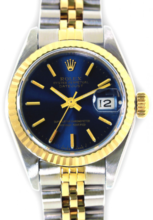 Rolex 69173 Yellow Gold & Steel on Jubilee, Fluted Bezel Blue with Gold Index