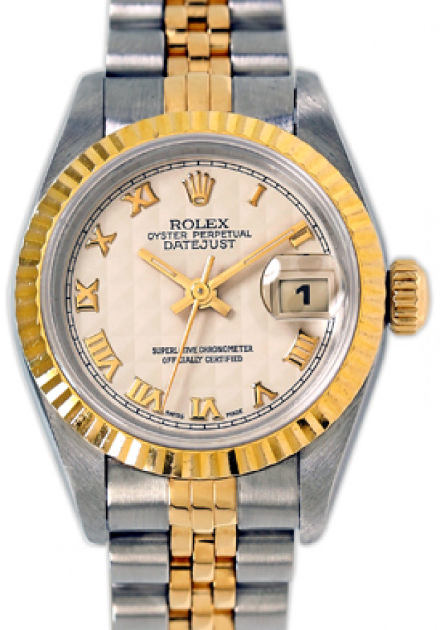 Rolex 69173 Yellow Gold & Steel on Jubilee, Fluted Bezel White Pyramid with Gold Roman
