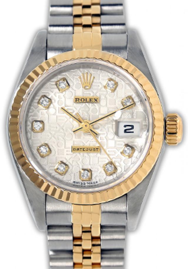Rolex 69173 Yellow Gold & Steel on Jubilee, Fluted Bezel Jubilee Steel Diamond Dial