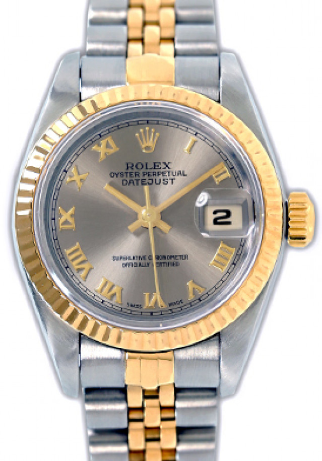 Rolex 69173 Yellow Gold & Steel on Jubilee, Fluted Bezel Rhodium with Gold Roman