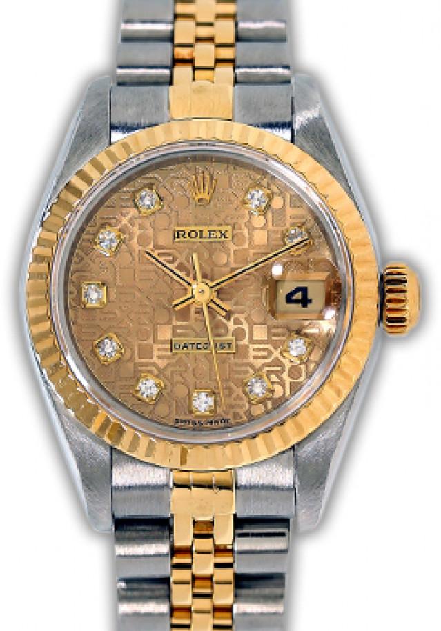 Rolex 69173 Yellow Gold & Steel on Jubilee, Fluted Bezel Jubilee Champagne Diamond Dial