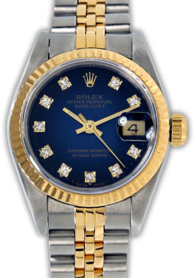 Rolex 69173 Yellow Gold & Steel on Jubilee, Fluted Bezel Vignette Blue Diamond Dial