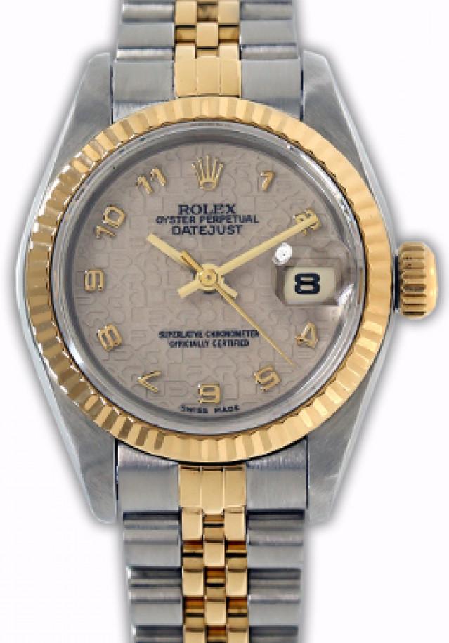 Rolex 69173 Yellow Gold & Steel on Jubilee, Fluted Bezel Ivory Jubilee with Gold Arabic