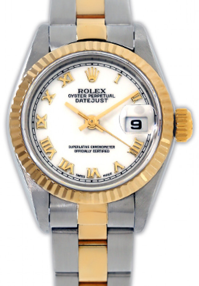 Rolex 69173 Yellow Gold & Steel on Oyster, Fluted Bezel White with Gold Roman