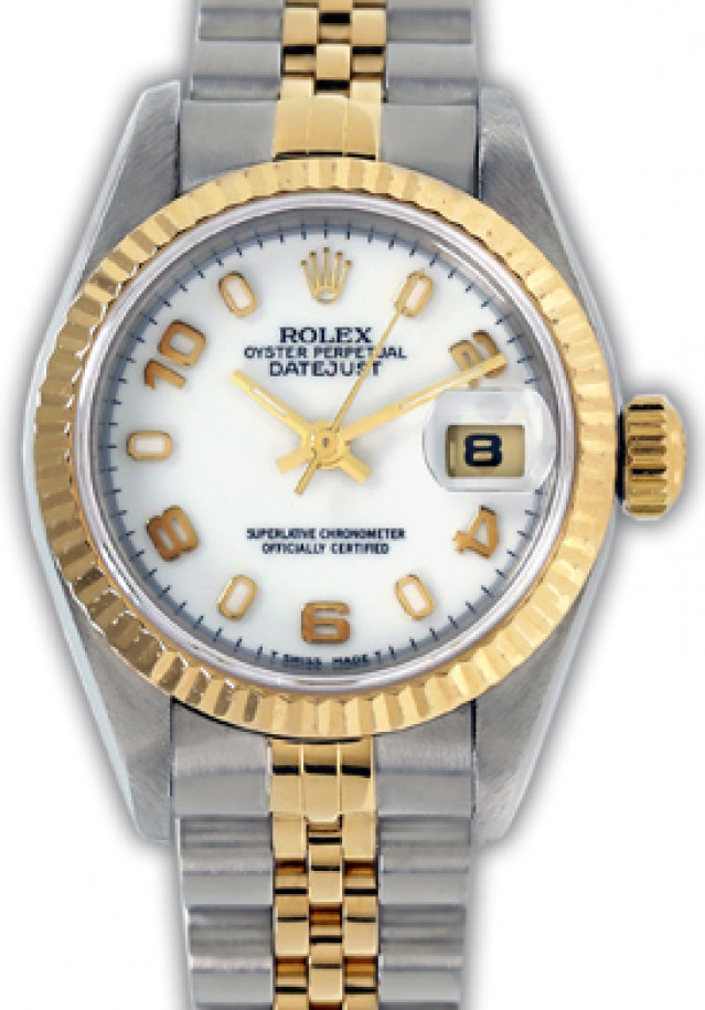 Rolex 69173 Yellow Gold & Steel on Jubilee, Fluted Bezel White with Luminous Index & Gold Arabic