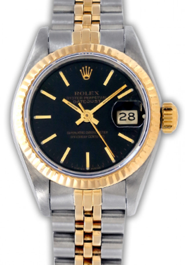 Rolex 69173 Yellow Gold & Steel on Jubilee, Fluted Bezel Black with Gold Index