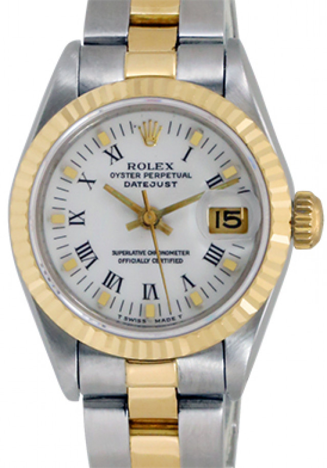 Rolex 69173 Yellow Gold & Steel on Jubilee, Fluted Bezel White with Black Roman