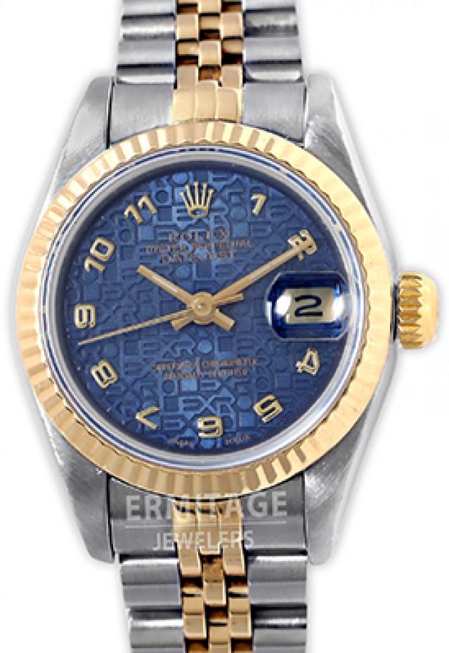 Rolex 69173 Yellow Gold & Steel on Jubilee, Fluted Bezel Blue Jubilee with Gold Arabic