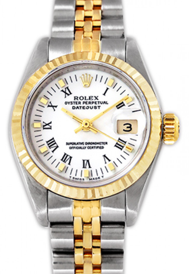 Rolex 69173 Yellow Gold & Steel on Jubilee, Fluted Bezel White with Black Roman & Gold Index