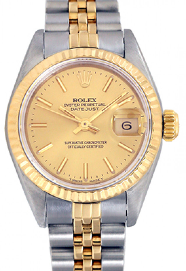 Rolex 69173 Yellow Gold & Steel on Jubilee, Fluted Bezel Champagne with Gold Index