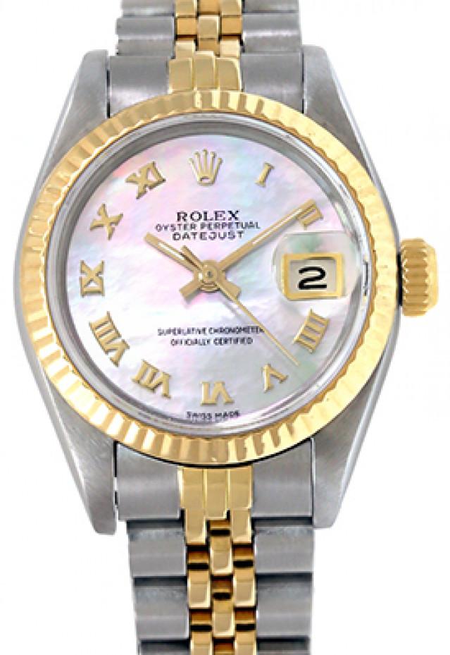 Rolex 69173 Yellow Gold & Steel on Jubilee, Fluted Bezel Ivory Jubilee with Gold Roman